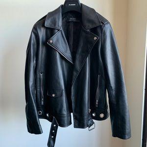 Zara Black Leather Moto Jacket